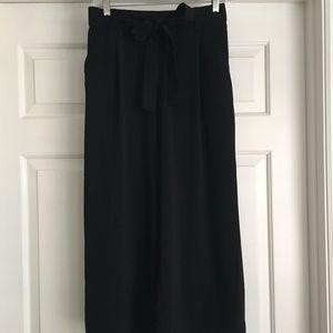 Zara Black Cropped Wide Leg Pant Sz Med